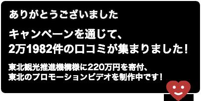ありがとうございました。キャンペーンを通じて、2万1982件の口コミが集まりました!東北観光推進機構様に220万円を寄付、東北のプロモーションビデオを制作中です!